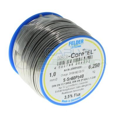 250gr Reel soldering wire 1mm 60/40 flux 3,5% Sn60 PB40 felder SolderFelder