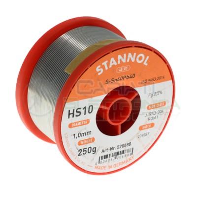 250g Bobina rotolo di stagno da 1mm 60/40 con Flussante 2.5% Sn60 PB40 Stannol Saldatura Stannol