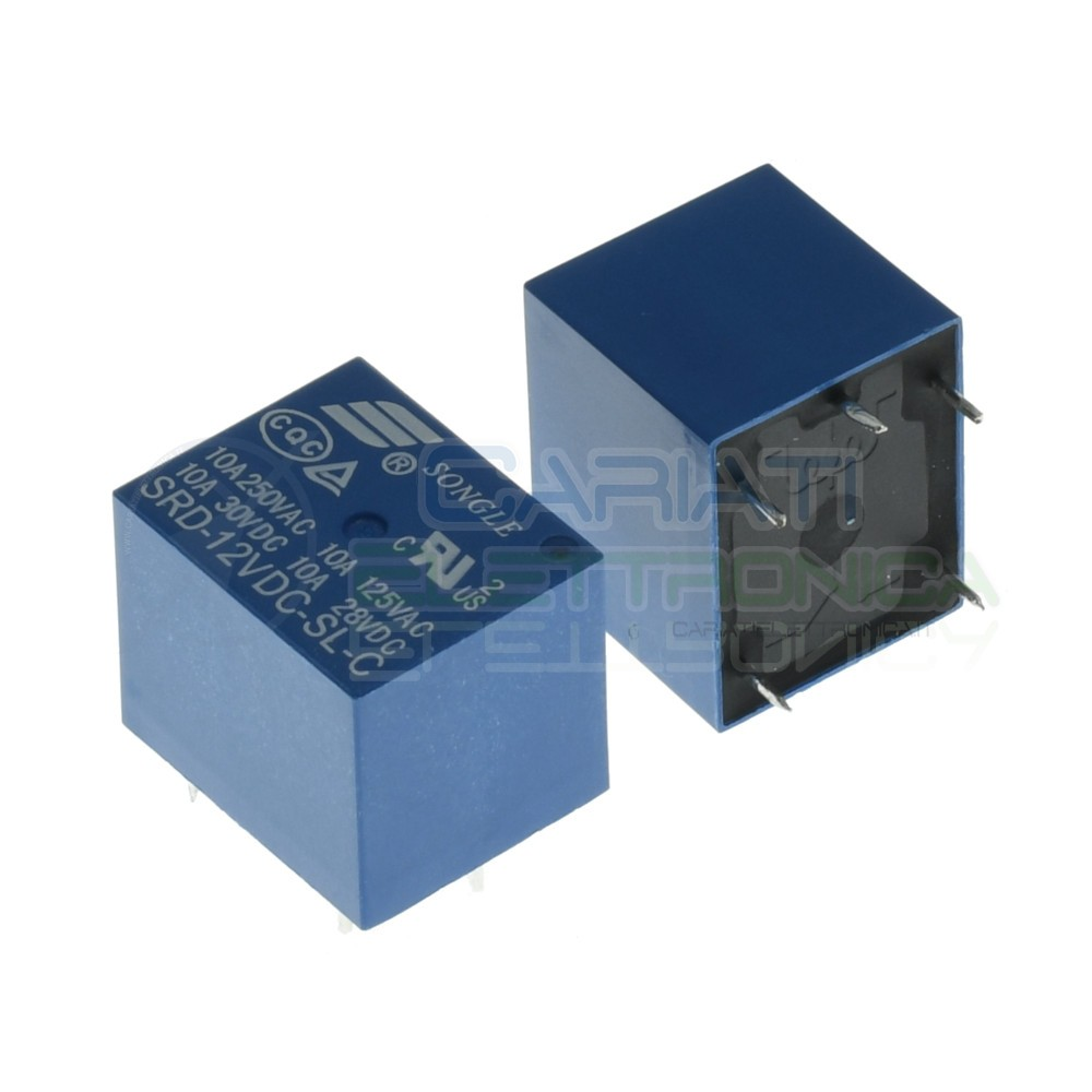 Relay Relè 12V SRD-12VDC-SL-C Dc 10A Singolo 1 Scambio Songle Spdt Pcb Songle