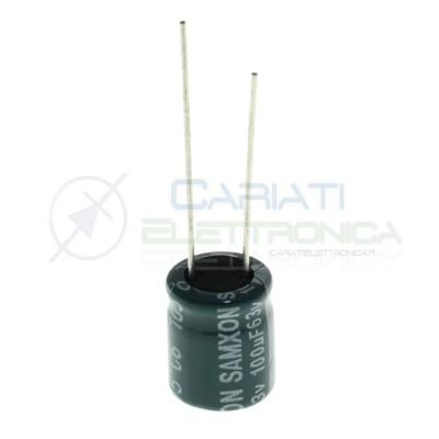 10 Pezzi Condensatore 100uf 63V elettrolitico 10x12,5mm Passo 5mm 105°C Samxon Samxon