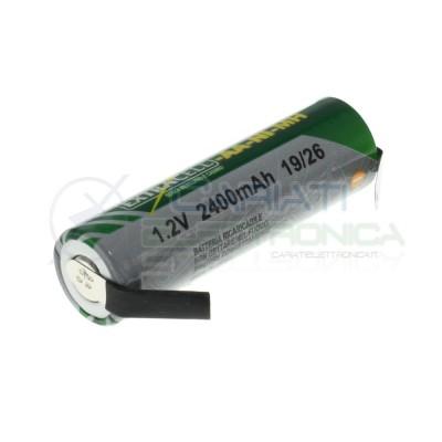 Batteria 1,2V AA Stilo 2400 mAh Ricaricabile NiMh 1,2 Volt con terminali a saldare Extracell