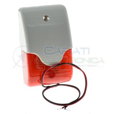 Sirena Piezo 12V Dc 111dB con Lampeggiante rosso 123x73x43mm Generico