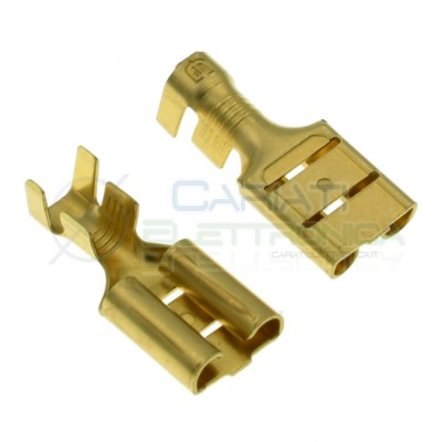 2 Pezzi Faston piatto 9,5mm Femmina non isolato 4/6mm2 Connettore da crimpare