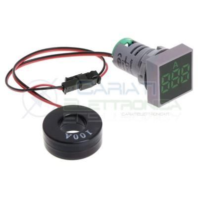 Amperometro Display Amperometrico 100A Verde da Pannello 22mm Generico