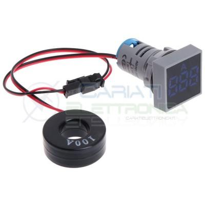 Amperometro Display Amperometrico 100A Blu da Pannello 22mm Generico