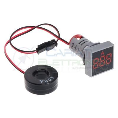 Amperometro Display Amperometrico 100A Rosso da Pannello 22mm Generico