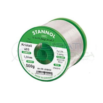 500g Stagno STANNOL 1mm Sn99Ag0,3Cu0,7 Kristall400 Bobina rotolo 0,5 kg Stannol