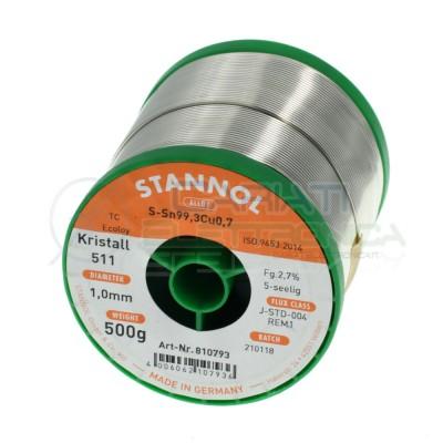 500g Stagno STANNOL 1mm Sn99.3 Cu0.7 KR511 Bobina rotolo 0,5 kgStannol