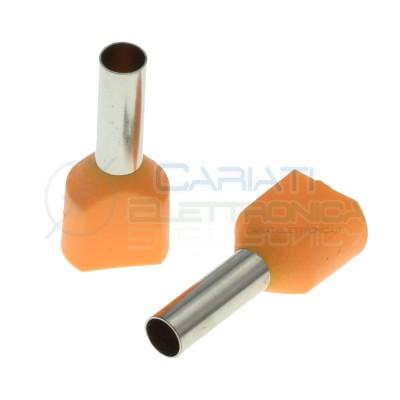 10 Pezzi Connettore a tubo preisolato Doppio 2x4.00 mm2 capicorda elettriciCembre