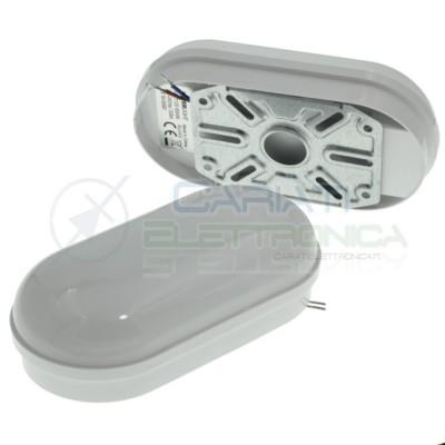 Plafoniera Led IP65 da esterno Applique Parete Soffitto Ovale 8W 6500K Bianco freddo Elcart