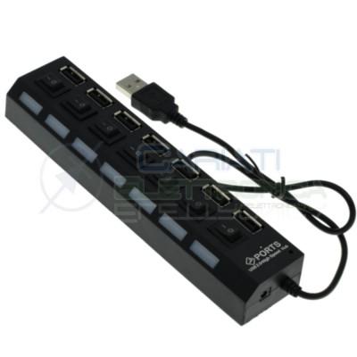Ciabatta usb multipresa Hun con 4 porte usb 2.0 nera con led BluGenerico