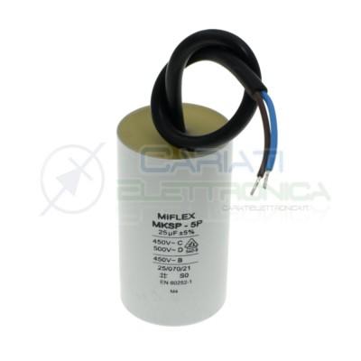 Condensatore per avvio motore 25uF 450Vac 45x78mm 10% terminale a filo Miflex
