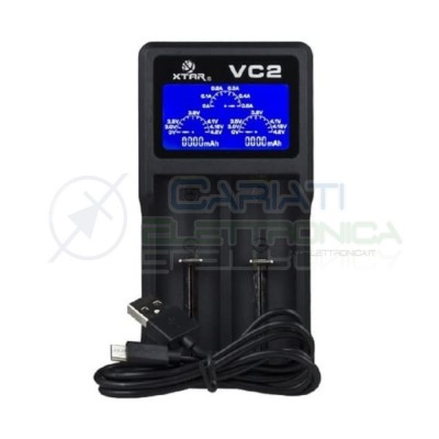 Xtar VC2 Caricabatterie 18650 porta USB schermo LCD 10440 14500 18350 18490 18500 18650 26650 Li-Ion Battery Charger Xtar