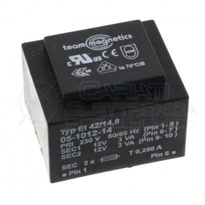 Trasformatore incapsulato doppia uscita 12V 6VA ingresso 230V 2x12V EI42/14,8 Team magnetics