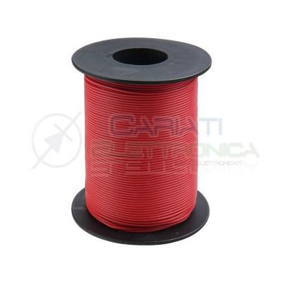 100m Bobina Cavo unipolare multifilare da 0,14mm2 in rame sottile morbido colore Rosso Donau