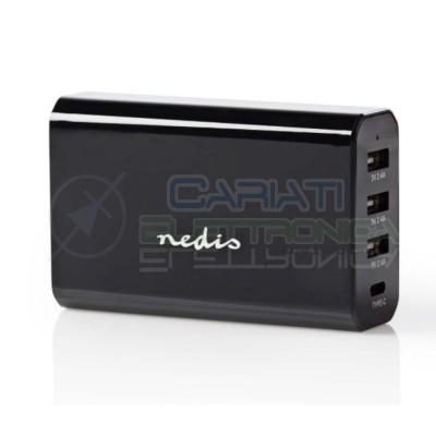 Caricabatterie da Parete 8.0 A con 4 uscite 3X USB-A e 1x USB-CNedis