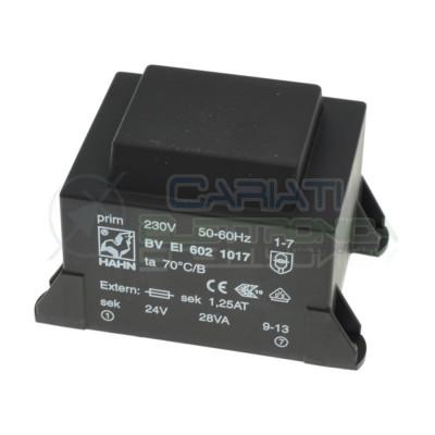 Trasformatore incapsulato 24V 28VA Ingresso 230V Ac Uscita 2x 24V DC Hahn