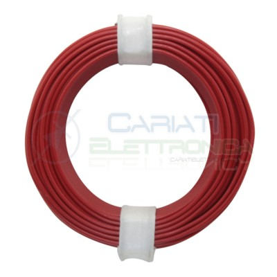10m Cavo unipolare multifilare da 0,04mm2 in rame sottile morbido colore Rosso Donau