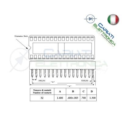 3 Pezzi Zoccolo Zoccoli Doppia Molla 32 Pin per circuiti integrati DIL