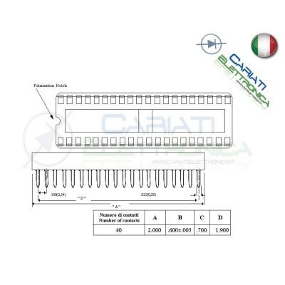 2 Pezzi Zoccolo Zoccoli Doppia Molla 40 Pin per circuiti integrati DIL  1,00€