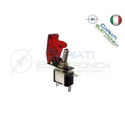 Interruttore Leva Con Led Rosso Tuning 12V 20A Trasparente  4,00€