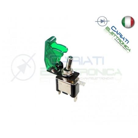Interruttore Leva Con Led Verde Tuning 12V 20A Trasparente