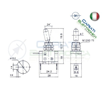 Interruttore Leva Con Led Bianco Tuning 12V 20A Trasparente  4,00€