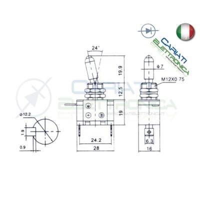 Interruttore Leva Con Led Giallo Tuning 12V 20A Carbonio  5,50€