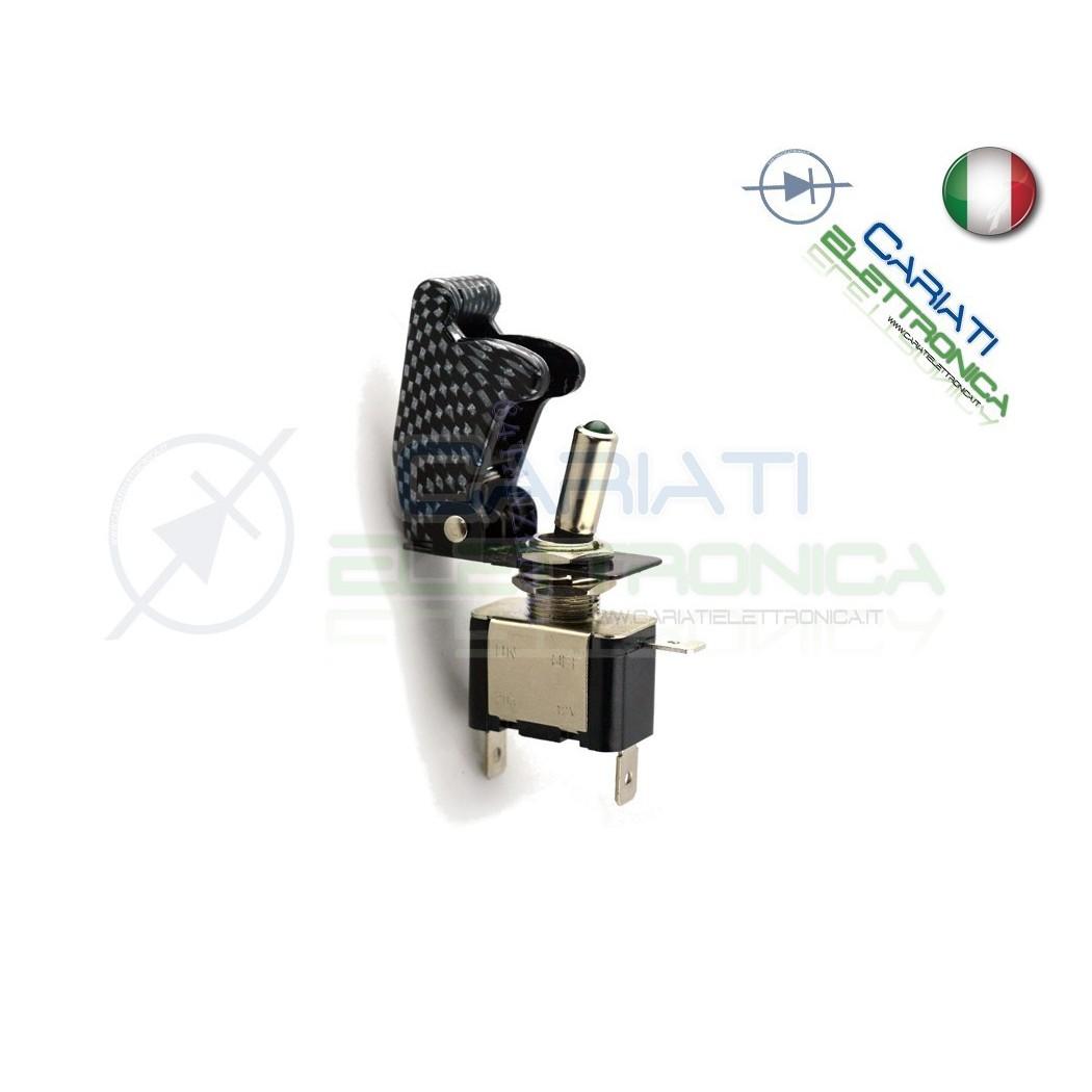 Interruttore Leva Con Led Blu Tuning 12V 20A Carbonio