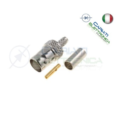 CONNETTORE FEMMINA RG59 75ohm VIDEO BNC VIDEOSORVEGLIANZA CRIMPARE CAVO