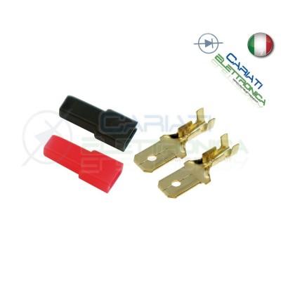 Kit 20 PEZZI Faston Maschio 6,35x0,8mm con 20 Coprifaston Rosso Nero  2,00€