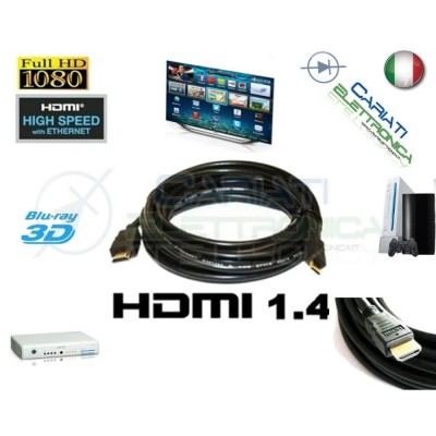Cavo HDMI 1.4 2 Metri mt in RAME Tv Video Dvd Console PC BLU-RAY Satellitare
