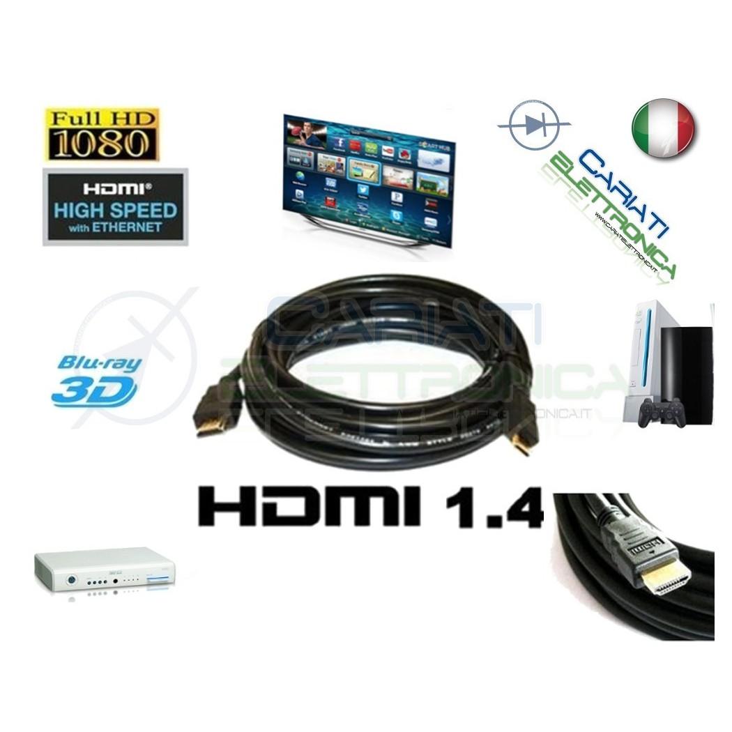 5 PEZZI Cavo HDMI 1.4 2 Metri mt in RAME Tv Video Dvd Console PC BLU-RAY  18,50€