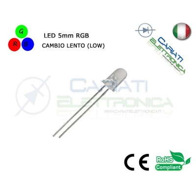 10pz Led RGB 5mm 2 pin 8000mcd CAMBIO LENTO LOW alta luminosità 4,10 €