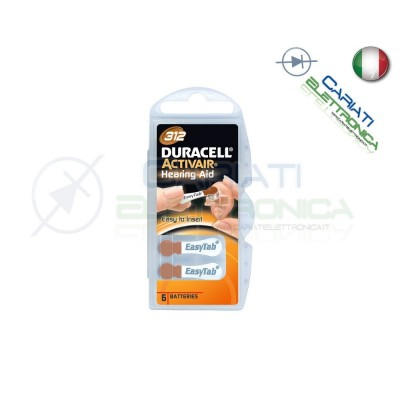6 Pile Batterie per Apparecchi Acustici Protesi Acustiche DURACELL 312Duracell
