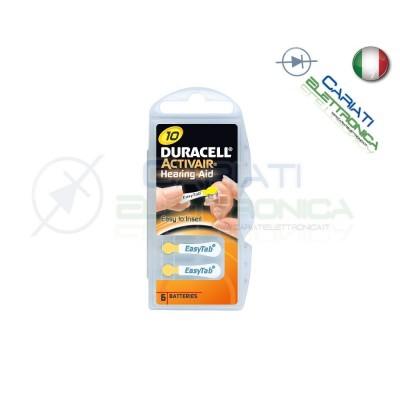 6 Pile Batterie per Apparecchi Acustici Protesi Acustiche DURACELL 10 Duracell