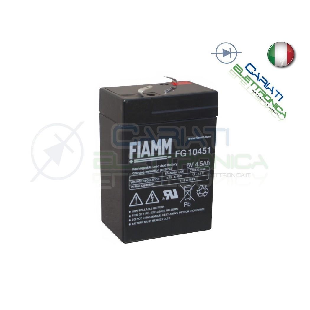BATTERIA ERMETICA AL PIOMBO RICARICABILE FIAMM FG10451 6V 4,5Ah Fiamm