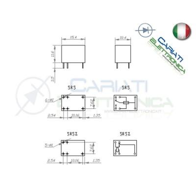 Relay Relè 24V Dc 3A Circuito Stampato Pcb 1 Scambio SRSZ SRSZ-24VDC-SL Songle 1,00€