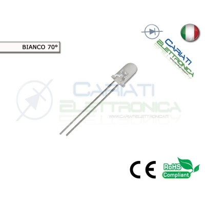 100 pz Led 5mm 70 ° Bianchi Bianco 8000mcd alta luminosità