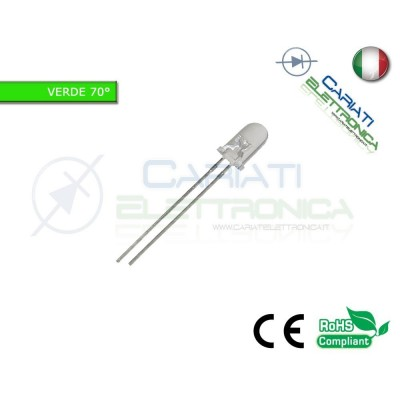 50 pz Led 5mm 70 ° Verdi Verde 8000mcd alta luminosità