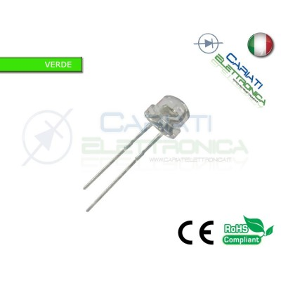 10 pz Led 5mm 130° VERDI VERDE 4000mcd alta luminosità 3,00 €