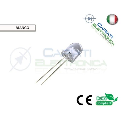 10 pz LED 10mm BIANCHI 20000mcd WHITE SUPERBRIGHT