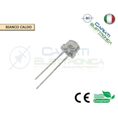 100 pz Led 5mm 130° BIANCO CALDO 3000mcd alta luminosità