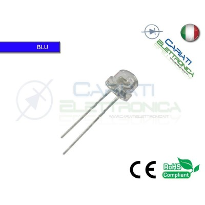 100 pz Led 5mm 130 ° BLU 2000mcd alta luminosità