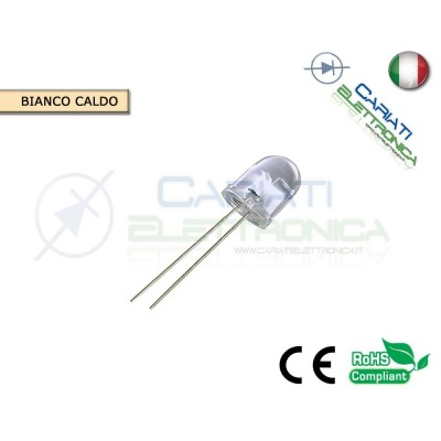 100 pz Led 10MM BIANCO CALDO 18000 mcd alta luminosità