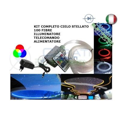 KIT CIELO STELLATO LED MULTICOLORE 100 FIBRE FIBRA OTTICA 2.5 METRI CON TELECOMANDO