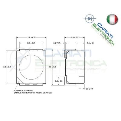 10 pz Led smd 3528 Bianchi PLCC PLCC2 Alta Luminosità