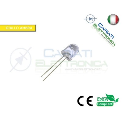 10 pz led 10mm Giallo Ambra 5000 mcd alta luminosità