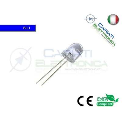 50 pz LED 10mm BLU SUPERBRIGHT 10000mcd alta luminosità