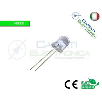 100 pz Led Verdi 10mm 20000mcd alta luminosità